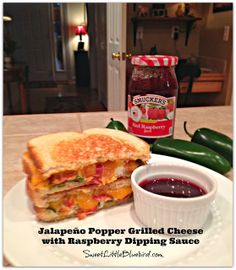 Jalapeño Popper Grilled Cheese with a super easy Raspberry Dipping Sauce. - Simple to make, so so good! |   SweetLittleBluebird.com