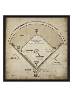 Baseball Field Diagram (White) by Artwork Enclosed at Gilt