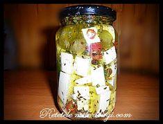 Telemea in ulei de masline Pickles, Cucumber, Mason Jars, Cheese, Food, Essen, Mason Jar, Meals, Pickle