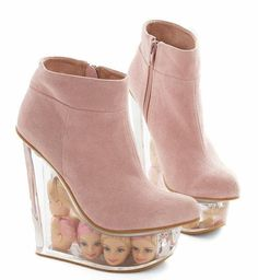 Jeffrey Campbell Pink Suede Barbie Doll Head Icy Wedge - Size 6 New In Box! #JefferyCampbell #PlatformsWedges