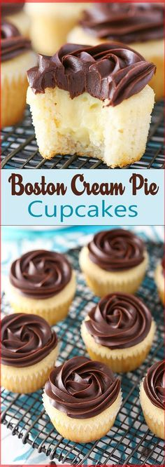 Boston Cream Pie Cupcakes - Pretzel Dessert İdeas and Tips No Bake Desserts, Just Desserts, Delicious Desserts, Dessert Recipes, Baking Desserts, Homemade Cupcake Recipes, Cheesecake Recipes, Pie Recipes, Brunch Recipes