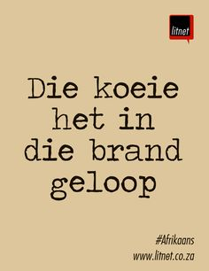 Die koeie het in die brand geloop Afrikaans Language, Afrikaans Quotes, Class Of 2019, First Language, Idioms, Beautiful Words, Artworks, Communication, Poetry