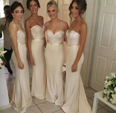 2014 Beige Sweetheart Strapless Chiffon Bridesmaid Dresses A-Line Floor Length With Sequin Lace Bridesmaid Dress Cheap US $99.99