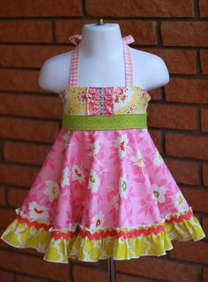Floral Pink Lemonade Roundabout Halter 'Ellie' Dress 4T to 6T (smaller sizes listed separately)