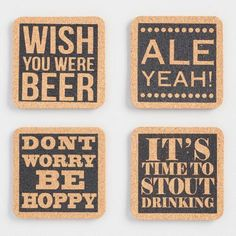 One of my favorite discoveries at WorldMarket.com: Cork Beer Coasters Set of 4