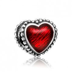 Red Big Heart Charm 925 Sterling Silver Pandora Compatible