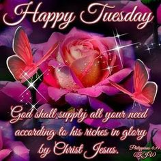 """HAPPY TUESDAY: Philippians 4:19 (1611 KJV !!!!) """" But my God shall supply all your need according to his riches in glory by Christ Jesus."""""""