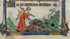 Fanciulla cacciatrice. Miniatura tratta dal 'Libro d'Ore Taymouth' (XIV secolo), British Library, Londra.