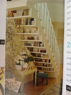 Books under the staircase.