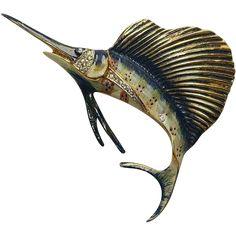 Sterling Craft Coro Enamel Fish Pin Brooch 1940's