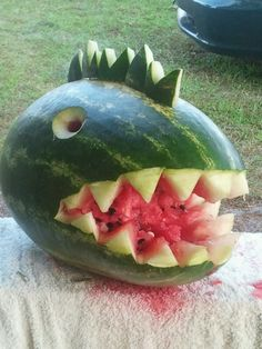 Watermelon craved into a dinosaur! My son loved this.