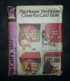 McCall's Pattern 3862 - For The Kids:  Play House / Fire House Cover for Card Table - uncut. $6.00, via Etsy.