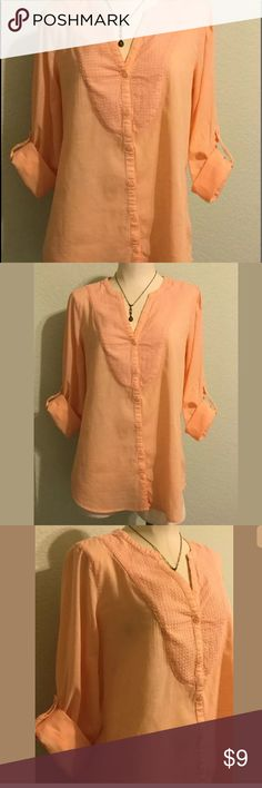 """Gap Tunic, Size Medium Nice, lightweight, Peach, tunic by Gap. Button front and slightly longer in the back. Bust measurement is 42"""" sleeve length is 24&1/2"""" with a button cuff or rolls up and buttons to make a 3/4 length sleeve, tunic is 27"""" long in the front about 3"""" longer around the back. Everything is washed, pressed, shipped from a smoke free environment, jewelry is not included. GAP Tops Tunics"""