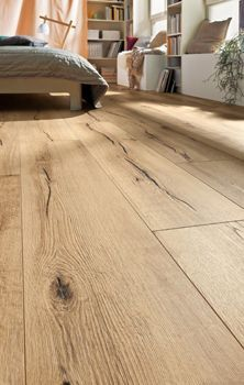 An example of a rustic-looking wooden laminate floor