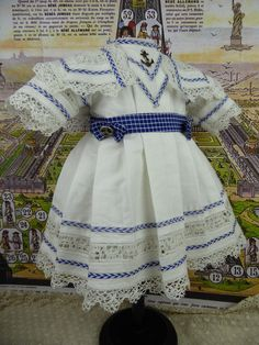 Wonderful French white pique mariner/sailor antique dolls dress with a from stairwaytothepast on Ruby Lane