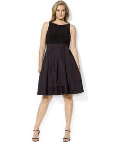 Lauren by Ralph Lauren Plus Size Dress, Pleated Cocktail Dress
