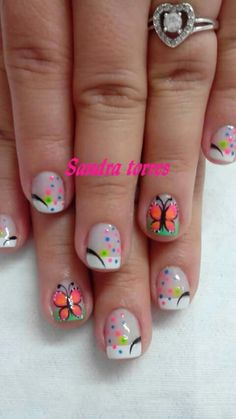 Fails design acrylic medium ideas for 2019 Animal Nail Designs, Butterfly Nail Designs, Green Nail Designs, Butterfly Nail Art, French Nail Designs, Nail Designs Spring, Nail Art Designs, Nails Design, Nail Art For Girls
