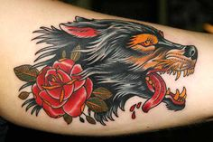 Dog and rose - arm