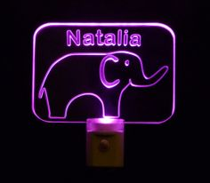 #Kids Personalized #Elephant Night Light, Customize with name by Unique LED Products#personalizedgift #LED #CLEVELAND