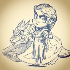 Daenerys game of thrones chibis kawaii drawing by Jonathan Bourrouet #GoT