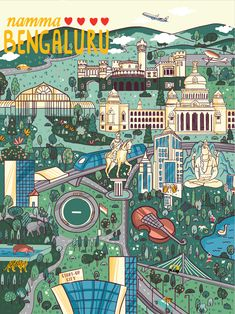 Bangalore map-Project for chumbak on Behance India Poster, London Poster, Indian Illustration, City Illustration, Bangalore City, Map Projects, Travel Sketchbook, Kids Math Worksheets, Photo Wall Collage
