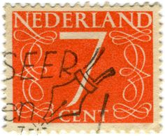 Netherlands postage stamp: Jan van Krimpen Numeral 7 c. 1940s/1950s #stamp #number #seven #orange #netherlands #postage_stamp #ephemera #vintage #mail