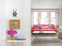 Feminine living room - Pink couch with gold accents throughout the room