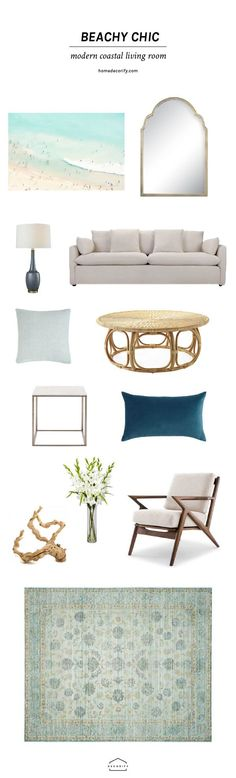 Create a chic beachy living room in a snap with this done-for-you guide that shows you all the major pieces you'll need to create a stylish coastal vibe.