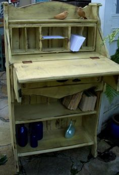 "Wood Desk - Bookcase - Shabby Furniture - Etagère - Cottage Chic/  Measures; 42"" Tall x 24"" Wide x 12"" Deep"