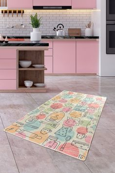 Covor pentru Bucatarie Bakery DJT - 140x190 cm Red Green Yellow, Green And Grey, Vivid Colors, Primary Colors, Rug Shapes, Standard Textile, Red Rugs, Indoor Air Quality, Rug Size