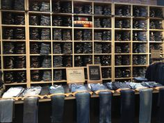 """Pristine denim wall. Denim """"bar"""", double exposes styles folded into the wall - Levis."""