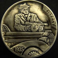 TIM WOLF HOBO NICKEL - CHICAGO GANGSTER - 1935 BUFFALO NICKEL Old Coins, Rare Coins, Hobo Nickel, Coin Art, Commemorative Coins, Coin Collecting, Metal Art, Paper Cutting, Carving