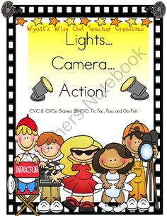 Lights... Camera... Action!  CVC & CVCe Literacy Games from Mrs. Wyatt's Wise Owl Teacher Creations on TeachersNotebook.com (39 pages)  - This unit includes 3 literacy CVC & CVCe games.