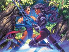 Psylocke vs Revanche by Greg & Tim Hildebrandt