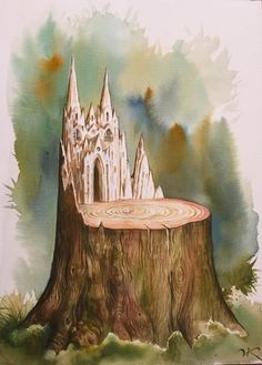 Yet, the stump lived on... Vladimir Kush - wood-and-stonewatercolor [957]