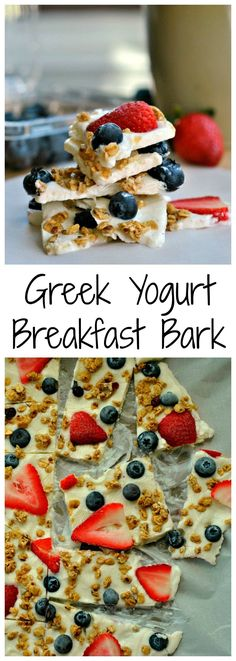 Greek Yogurt Breakfast Bark is a power-packed treat! Just 5 ingredients is all it takes to make this on-the-go breakfast and snack! paleo breakfast on the go