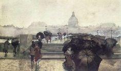 """Paris Street Scene"" Fernand Harvey Lungren  American c. 1857 - 1932 """