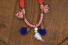 Gipsy fabric woman necklace - tribal jewelry - red blue pompoms