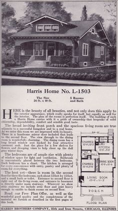 1918 Harris Bros. Co. Kit Home Catalog - Plan L-1503 - One and a half story Craftsman-style Bungalow