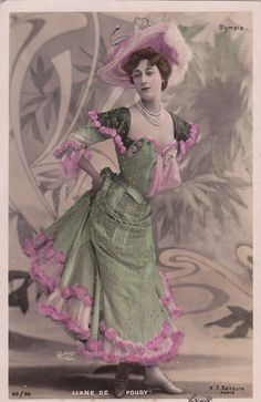 Original vintage postcard dated either 1905 or 1906 of French actress Liane De Pougy as photographed by Leopold Reutlinger of Paris.    Published by