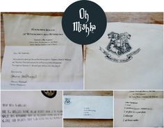 M O O R E A S E A L: DIY: Hogwarts Acceptance Letter // Michelle from Oh, Mishka