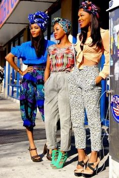 Fuck yeah! This is the way you step out ladies. Head to toe, chic & fly. Some serious Fashionista's! #freshlaundryaporoved #freshlaundry #blackexcellence   African-Americans in Pure African Fashion