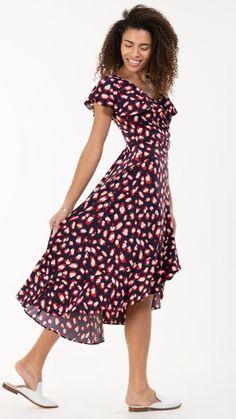 Navy dress, navy maxi dress, maxi dress, red details