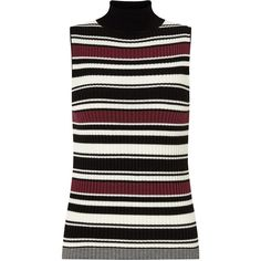 Miss Selfridge Sleeveless Knit Rib Top , Burgundy (€12) ❤ liked on Polyvore featuring tops, burgundy, stripe top, sleeveless knit top, burgundy top, miss selfridge and fitted tops