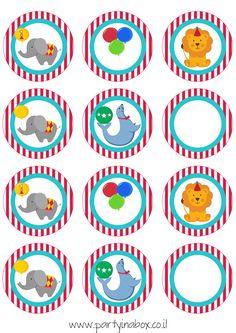 cupcake toppers sheet circus time free-1.jpg (827×1169)