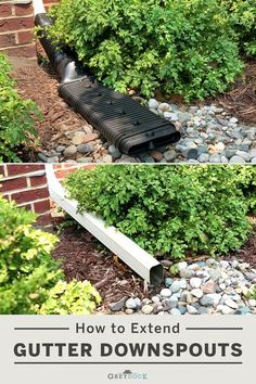 Your gutter system is only as good as your downspout drainage. Extending them is a necessary project to keep your home safe from damaging rainwater. The good news is there's a fix for every budget and DIY skill level! Rainwater Drainage, Irrigation, Leveling Yard, Backyard Drainage, Diy Gutters, Leaf Filter, Drainage Solutions, How To Install Gutters, French Drain