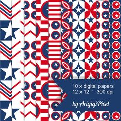 #scrapbooking #digital #papers - #red #white #blue - #stars and #stripes - #patriotic #pack #etsycij17 by ArigigiPixel on Etsy