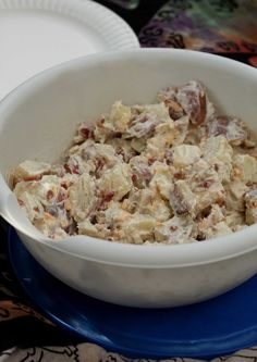 Loaded Potato Salad - Picnic Food 101 | Sweet Remedy -- I'd add veggies, eggs and/or green onion too but sounds yum!