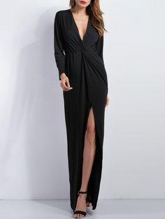 Deep V Plunge Long Sleeve Slit Evening Dress - BLACK S