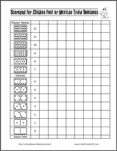 Scorepad For Chicken Foot Or Mexican Train Dominoes   Free To Print (PDF  File)